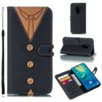 Splicing Imprint Men Tie Leather Button Decor Case for Huawei Mate 20 – Black