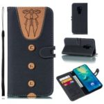 For Huawei Mate 20 Splicing Leather Case [Imprint Women Bow-tie] [Button Decor] – Black