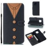 For Huawei Mate 20 Pro [Splicing] Imprint Men Tie Button Decor Leather Wallet Case – Black
