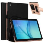 For Huawei Mediapad C5 10 / M5 Lite 10 PU Leather Smart Case / Card Slots / Stand / Hand Strap – Black
