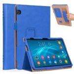 For Huawei MediaPad T5 10 PU Leather Smart Case Accessory / Card Slots / Stand / Hand Strap – Blue