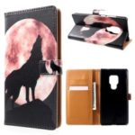 Pattern Printing Wallet Leather Stand Case for Huawei Mate 20 – Wolf Howling at the Moon