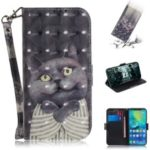 Pattern Printing Wallet Stand Leather Case for Huawei Mate 20 Pro – Grey Cat