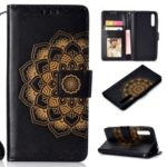 Imprinted Flower Pattern PU Leather Stand Wallet Phone Case for Huawei P20 Pro – Black