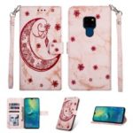 Leather Phone Casing for Huawei Mate 20 [Marble Style] [Imprinted Moon Pattern] – Rose Gold