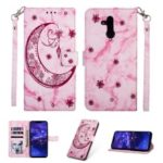 Imprinted Moon Pattern Marble Style Leather Wallet Case for Huawei Mate 20 Lite / Maimang 7 – Rose