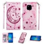 For Huawei Mate 20 Pro Leather Case [Imprinted Moon Pattern] [Marble Style] – Rose