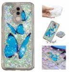 Embossment Pattern Quicksand TPU Soft Case for Huawei Mate 20 Lite – Blue Butterflies