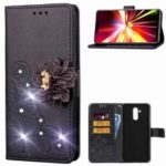 For Huawei Mate 20 Lite / Maimang 7 [3D Flower] Leather Case / Imprint Flower / Rhinestone Decor / Wallet – Black