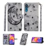 Marble Texture Imprint Moon Leather Wallet Case for Huawei P20 Pro – Black
