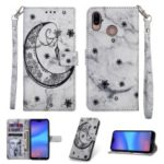 Imprinted Moon Pattern Marble Style Leather Wallet Case for Huawei P20 Lite / Nova 3e (China) – Grey