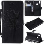 Imprint Cat and Tree Pattern Leather Wallet Case for Huawei Honor 8C – Black