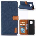Oxford Cloth Wallet Stand PU Leather Cover for Huawei Mate 20 Pro – Dark Blue