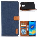 Oxford Cloth Wallet Stand PU Leather Cover for Huawei Mate 20 Lite – Dark Blue