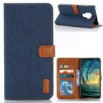 Oxford Cloth Wallet Stand PU Leather Cover for Huawei Mate 20 – Dark Blue