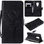 Imprint Cat and Tree Pattern Leather Wallet Cover for Huawei Mate 20 – Black