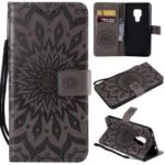 Imprint Sunflower Wallet Leather Stand Case for Huawei Mate 20 – Grey