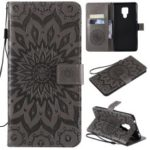 Imprint Sunflower Wallet Leather Stand Case for Huawei Mate 20 X – Grey