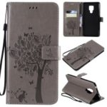 Imprint Cat and Tree Pattern Leather Wallet Case for Huawei Mate 20 X – Grey