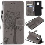 Imprint Cat and Tree Pattern Leather Wallet Case for Huawei Mate 20 Pro – Grey