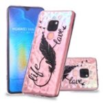 Embossed Pattern 3D Diamond Texture TPU Case for Huawei Mate 20 – Feather Pen