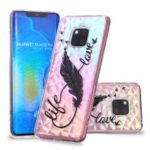 Embossed Pattern 3D Diamond Texture TPU Case for Huawei Mate 20 Pro – Feather Pen
