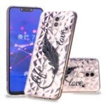 Embossed Pattern 3D Diamond Texture TPU Case for Huawei Mate 20 Lite / Maimang 7 – Feather Pen