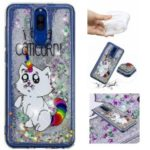 Dynamic Glitter Powder Heart Shaped Sequins Shockproof TPU Case for Huawei Mate 10 Lite – Unicorn and English Characters