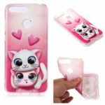 Pattern Printing Matte Surface IMD TPU Mobile Phone Case for Honor 7A (with Fingerprint Sensor) / Honor 7A Pro / Enjoy 8e – Cat and Heart