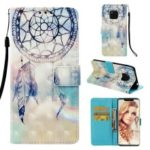 Pattern Printing PU Leather Wallet Cover  for Huawei Mate 20 Pro – Grey Dream Catcher