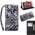 Pattern Printing Light Spot Decor Wallet Stand Leather Case for Huawei Mate 20 Pro – Black Flower