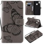 Imprint Butterfly Wallet Stand Leather Protection Case for Huawei Honor 8C – Grey