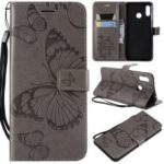 Imprint Butterfly Leather Wallet Stand Case with Strap for Huawei nova 3 – Grey