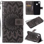 Imprint Sunflower PU Leather Mobile Phone Case for Huawei Honor 8C – Grey