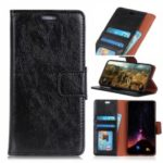 Textured Split Leather Wallet Case for Huawei Honor 10 Lite – Black