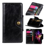 Textured Wallet Stand PU Leather Case for Huawei Honor 10 Lite – Black