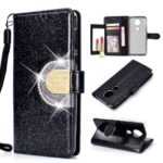 For Motorola Moto E5 / G6 Play Glitter Powder Leather Case [Rhinestone Decor] [with Mirror] – Black