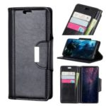 Textured PU Leather Wallet Stand Mobile Cover for Motorola One Power / P30 Note – Black