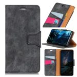 Retro Style Split Leather Case Wallet Phone Cover for Motorola Moto G7 – Grey