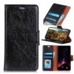 Textured Split Leather Wallet Case for Motorola Moto G7 – Black