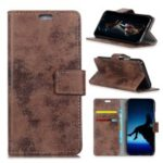 Vintage Style Mobile Shell for Motorola Moto G7 Wallet PU Leather Stand Case – Brown