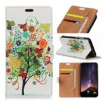 Pattern Printing PU Leather Wallet Stand Phone Case for Motorola One Power / P30 Note – Tree with Colorful Leaves and Fruits