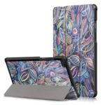 Pattern Printing Tri-fold Stand Leather Case for Lenovo Tab E8 TB-8304F – Leaves