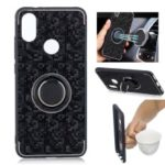 For Xiaomi Mi 6X / Mi A2 Mosaic Pattern Metal PC TPU Hybrid Phone Case with Finger Ring Kickstand – Black