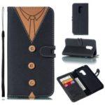 Splicing Imprint Men Tie Leather Button Decor Case for Xiaomi Pocophone F1 / Poco F1 – Black
