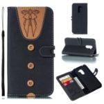 For Xiaomi Pocophone F1 / Poco F1 Splicing Leather Case [Imprint Women Bow-tie] [Button Decor] – Black