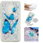 For Xiaomi Pocophone F1 / Poco F1 (India) Embossment Pattern Quicksand TPU Mobile Phone Case – Blue Butterflies