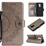Imprinted Mandala Pattern Wallet Leather Mobile Case for Xiaomi Pocophone F1 / Poco F1 (India) – Grey