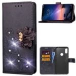 For Xiaomi Redmi Note 6 Pro 3D Flower Leather Case / Imprint Flower / Rhinestone Decor / Wallet – Black