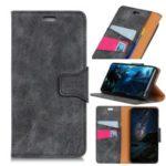 Vintage Style Split Leather Flip Case for BlackBerry KEY2 LE – Grey